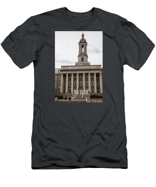 Old Main Penn State From Front  Men's T-Shirt (Slim Fit) by John McGraw