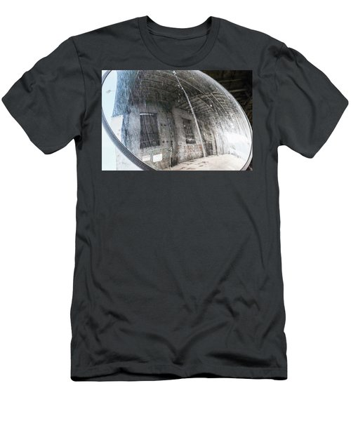 Old Mirror Near An Urban Parking Garage In Sheboygan Wisconsin Men's T-Shirt (Athletic Fit)