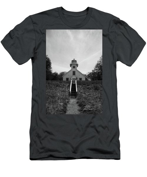 Old Mission Point Lighthouse Men's T-Shirt (Slim Fit) by Joann Copeland-Paul