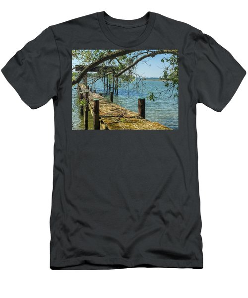 Men's T-Shirt (Athletic Fit) featuring the photograph Old Pier On The Tred Avon by Charles Kraus