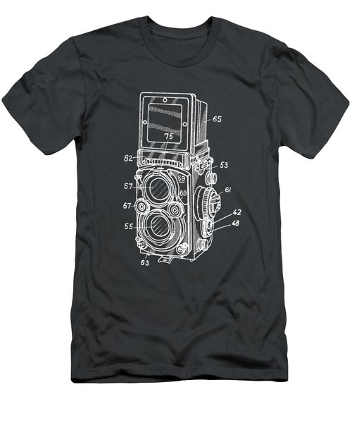 Men's T-Shirt (Athletic Fit) featuring the photograph Old Rollie Vintage Camera White T-shirt by Edward Fielding