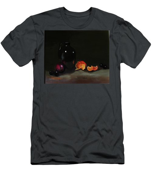 Men's T-Shirt (Slim Fit) featuring the painting Old Sake Jug And Fruit by Barry Williamson