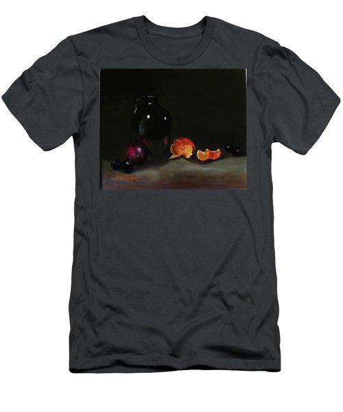 Old Sake Jug And Fruit Men's T-Shirt (Slim Fit) by Barry Williamson