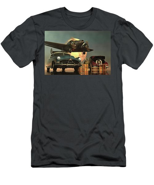 Old-timers With Airplane Men's T-Shirt (Athletic Fit)