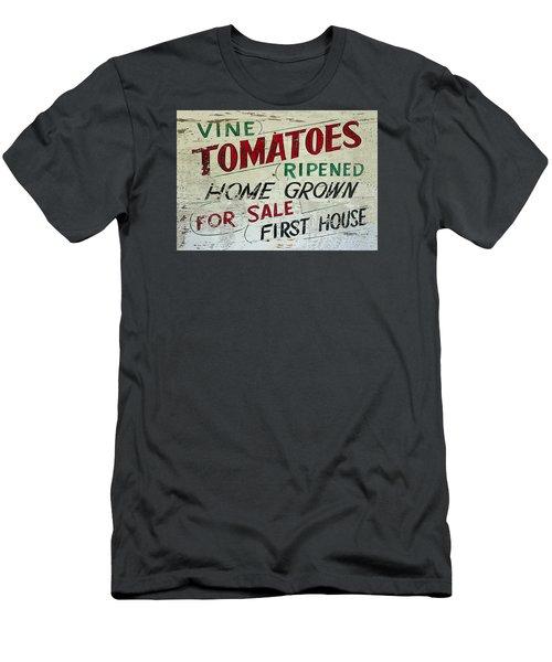 Old Tomato Sign - Vine Ripened Tomatoes Men's T-Shirt (Slim Fit) by Rebecca Korpita