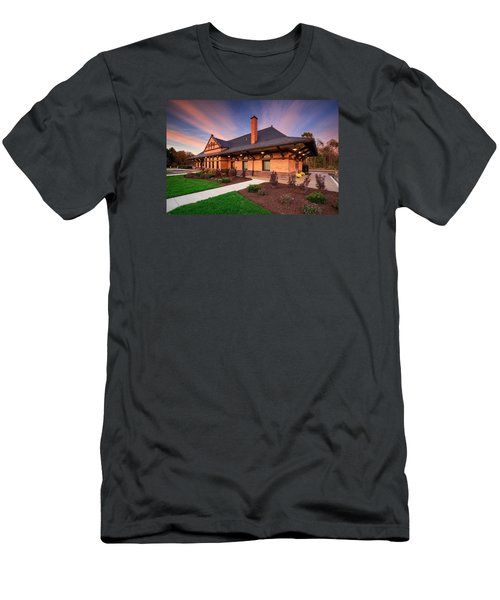 Old Train Station Men's T-Shirt (Slim Fit) by Emmanuel Panagiotakis