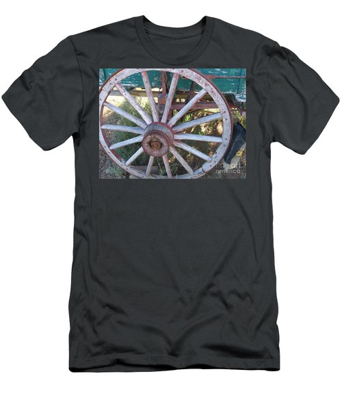 Men's T-Shirt (Slim Fit) featuring the photograph Old Wagon Wheel by Dora Sofia Caputo Photographic Art and Design