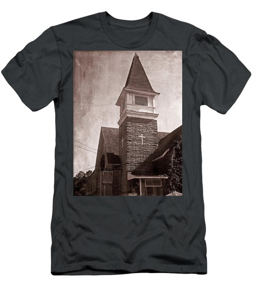 Men's T-Shirt (Athletic Fit) featuring the photograph Old Western Cathedral Cafe by Aimee L Maher Photography and Art Visit ALMGallerydotcom
