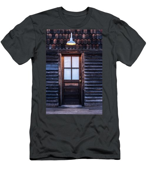 Men's T-Shirt (Slim Fit) featuring the photograph Old Wood Door And Light by Terry DeLuco