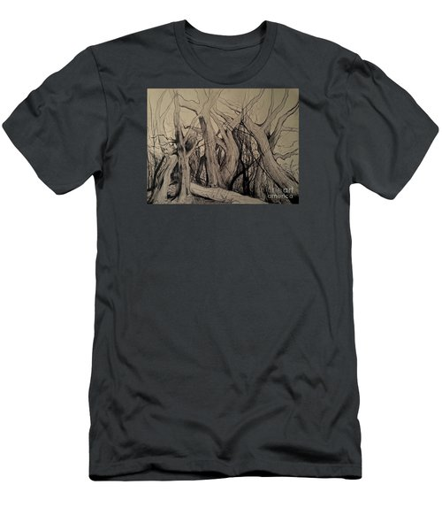 Men's T-Shirt (Slim Fit) featuring the painting Old Woods by Maja Sokolowska