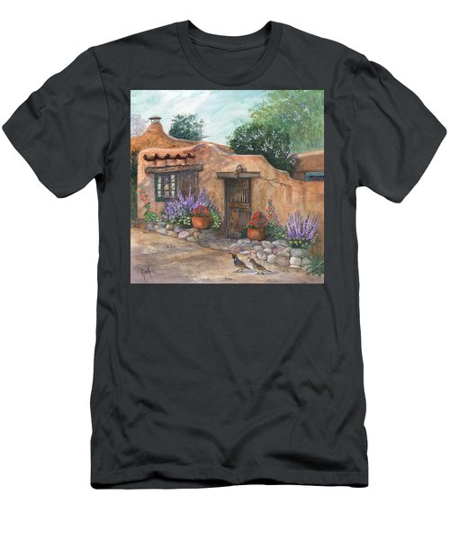 Men's T-Shirt (Slim Fit) featuring the painting Old Adobe Cottage by Marilyn Smith