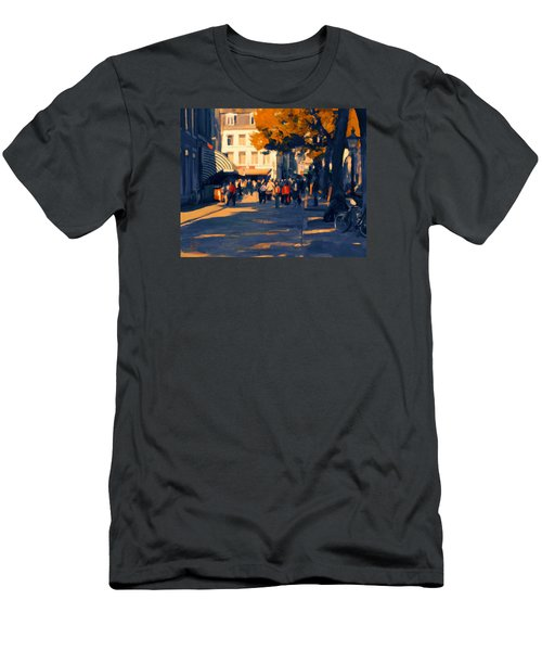Men's T-Shirt (Slim Fit) featuring the painting Olv Plein Maastricht In Autumn by Nop Briex
