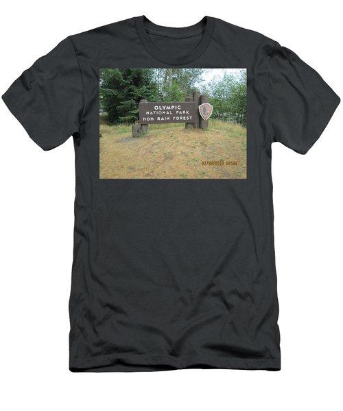 Olympic Park Sign Men's T-Shirt (Slim Fit) by Tony Mathews