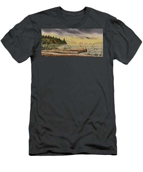 Men's T-Shirt (Slim Fit) featuring the painting Olympic Seashore Sunset by James Williamson