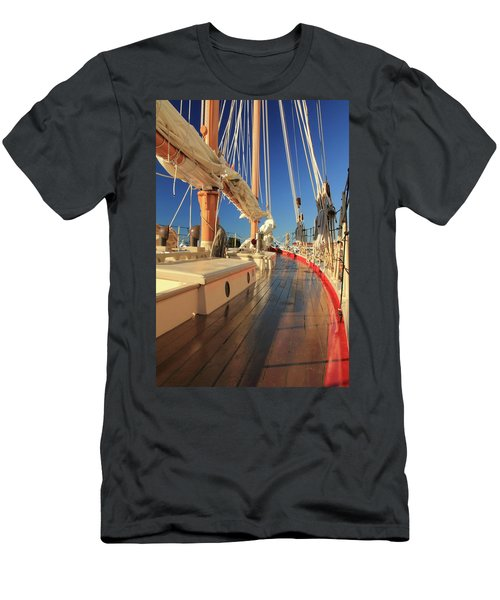 Men's T-Shirt (Slim Fit) featuring the photograph On Deck Of The Schooner Eastwind by Roupen  Baker