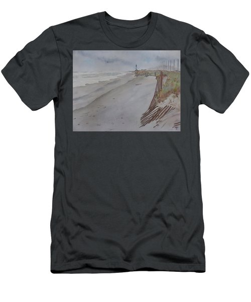 Men's T-Shirt (Athletic Fit) featuring the painting Once There Was A Lighthouse by Joel Deutsch