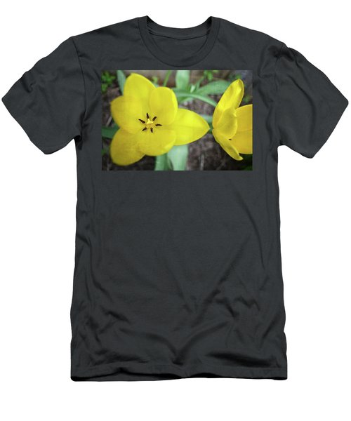 Men's T-Shirt (Athletic Fit) featuring the photograph One And A Half Yellow Tulips by Michelle Calkins