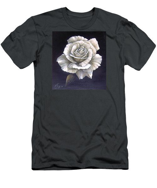 Men's T-Shirt (Slim Fit) featuring the painting Opened Rose by Natalia Tejera