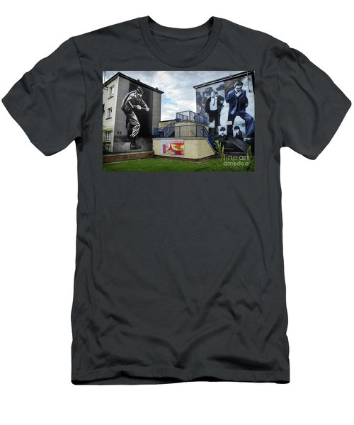 Men's T-Shirt (Slim Fit) featuring the photograph Operation Motorman Mural In Derry by RicardMN Photography
