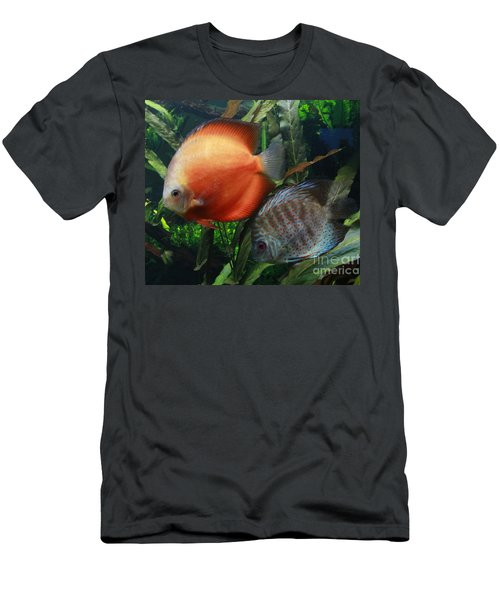 Orange And Blue Speckled Discus Men's T-Shirt (Athletic Fit)
