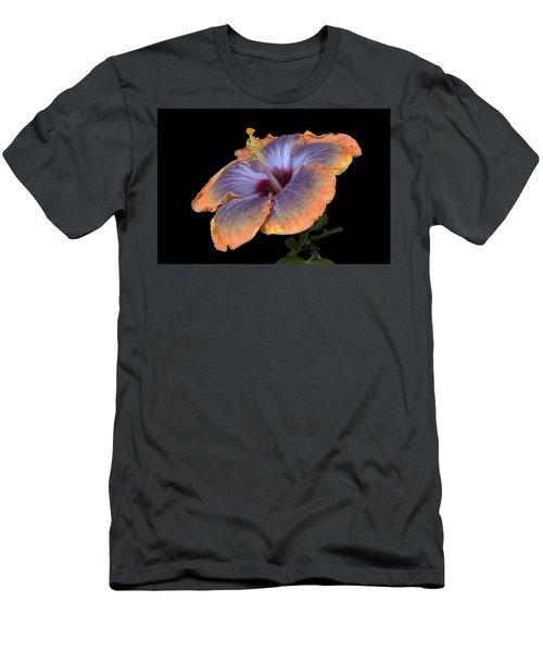 Orange-blue Hibiscus Men's T-Shirt (Athletic Fit)