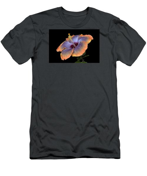 Orange-blue Hibiscus Men's T-Shirt (Athletic Fit)
