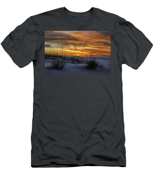 Orange Clouded Sunrise Over The Pier Men's T-Shirt (Athletic Fit)