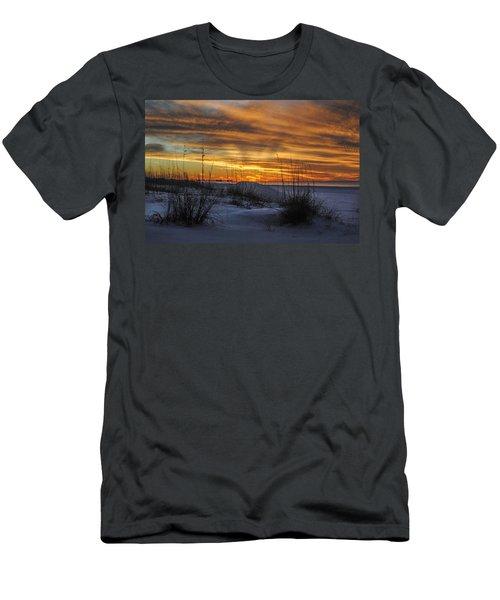 Orange Clouded Sunrise Over The Pier Men's T-Shirt (Slim Fit) by Michael Thomas