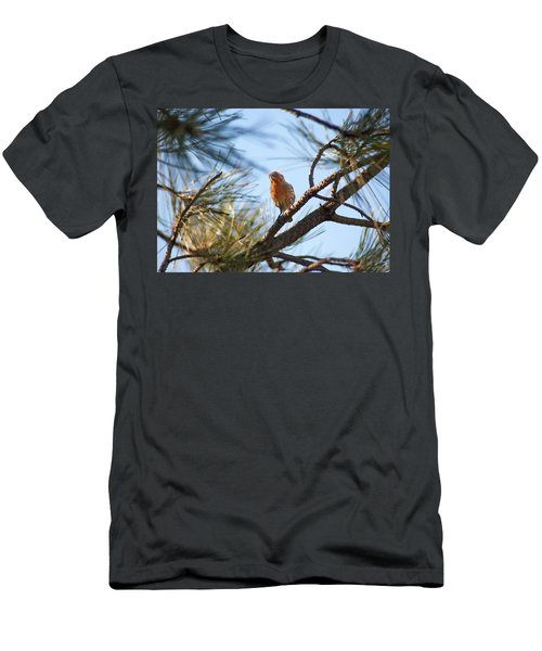 Men's T-Shirt (Athletic Fit) featuring the photograph Orange House Finch 2 by Marilyn Hunt