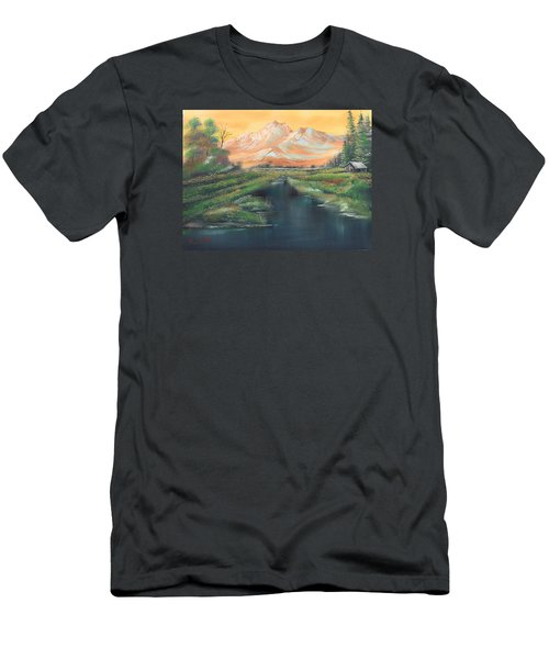 Orange Mountain Men's T-Shirt (Slim Fit) by Remegio Onia