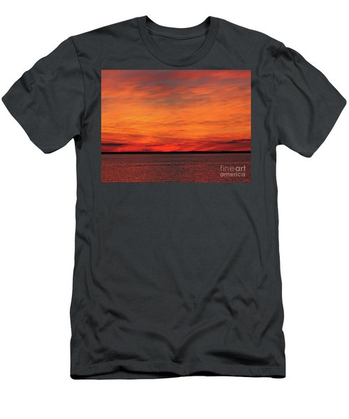 Orange Sunset On The New Jersey Shore Men's T-Shirt (Athletic Fit)
