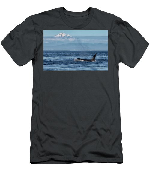Orca Male With Mt Baker Men's T-Shirt (Athletic Fit)