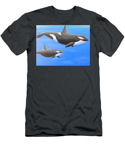 Orca With Baby Men's T-Shirt (Athletic Fit)