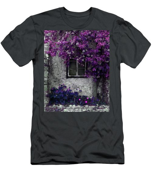 Orchid Vines Window And Gray Stone Men's T-Shirt (Slim Fit) by Brooke T Ryan