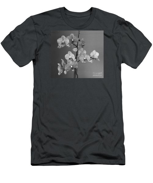 Men's T-Shirt (Slim Fit) featuring the photograph Orchids Black And White by Jeanette French