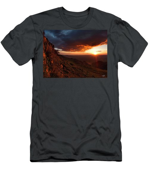 Men's T-Shirt (Slim Fit) featuring the photograph Oregon Mountains Sunrise by Leland D Howard