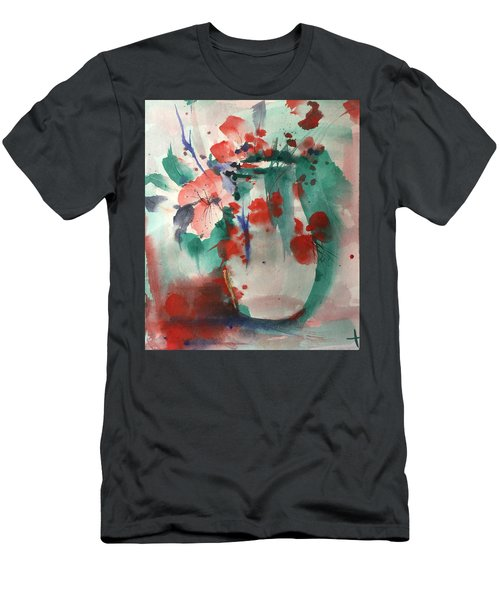 Oriental Brush Flowers And Vase Men's T-Shirt (Slim Fit) by Robin Miller-Bookhout