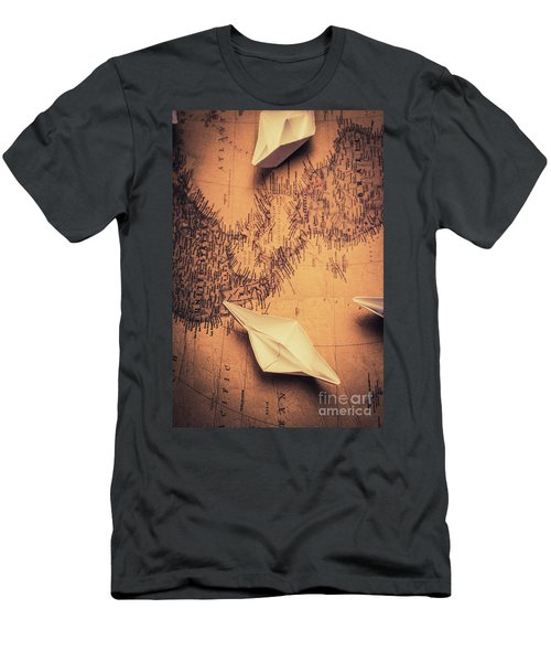 Origami Boats On World Map Men's T-Shirt (Athletic Fit)