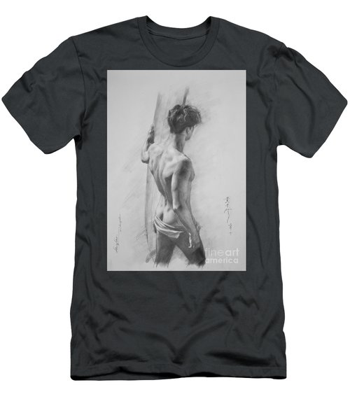 Original Charcoal Drawing Art Male Nude  On Paper #16-3-11-12 Men's T-Shirt (Slim Fit) by Hongtao Huang