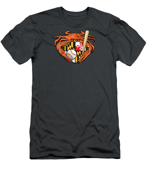 Oriole Baseball Crab Maryland Crest Men's T-Shirt (Athletic Fit)