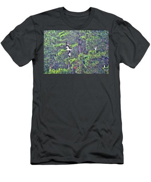 Osprey In Rain Men's T-Shirt (Slim Fit) by James Potts