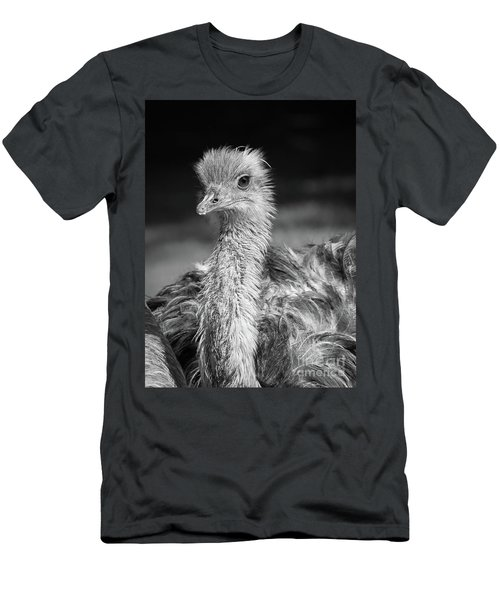 Ostrich Black And White Men's T-Shirt (Athletic Fit)