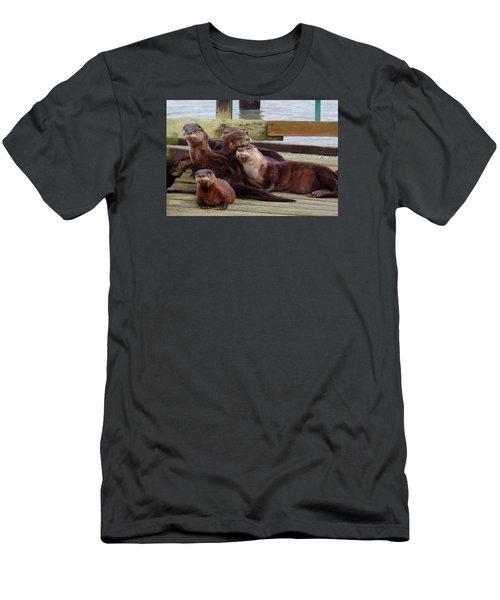 Otter Party In Bellingham Men's T-Shirt (Slim Fit) by Karen Molenaar Terrell