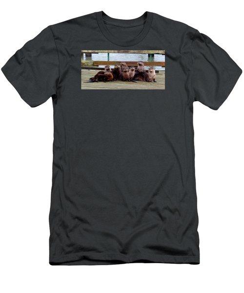 Otters Posing Men's T-Shirt (Slim Fit) by Karen Molenaar Terrell