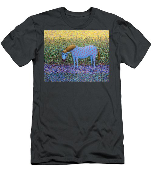 Men's T-Shirt (Slim Fit) featuring the painting Out Of The Pasture by James W Johnson