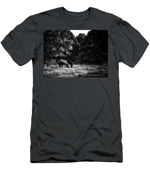 Men's T-Shirt (Slim Fit) featuring the photograph Out To Pasture Bw by Mark Fuller