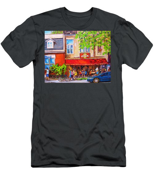Men's T-Shirt (Slim Fit) featuring the painting Outdoor Cafe by Carole Spandau