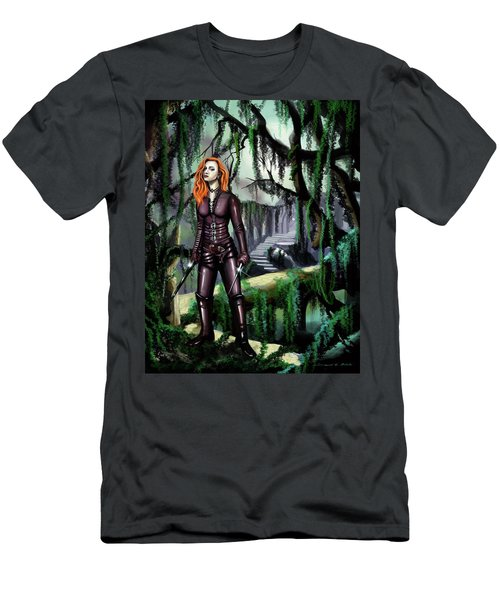 Men's T-Shirt (Slim Fit) featuring the painting Over The Bridge by James Christopher Hill