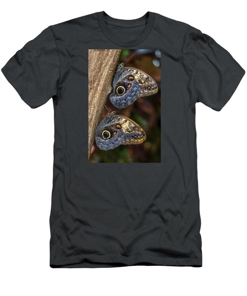 Owl Butterflies Men's T-Shirt (Slim Fit) by Jerry Cahill