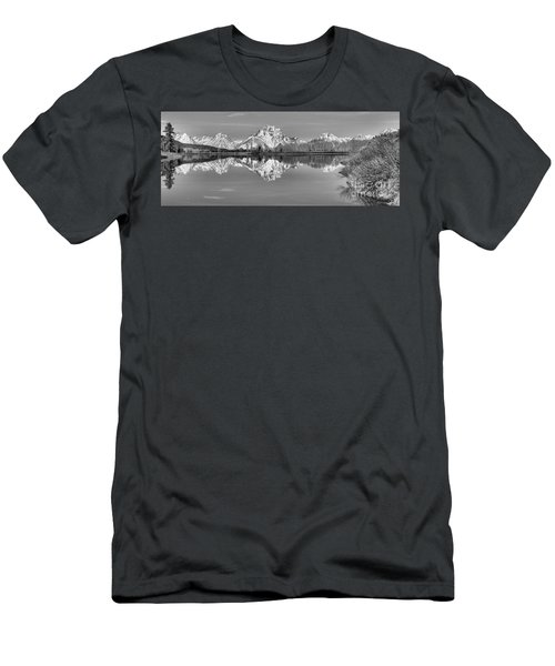 Oxbow Bend Panorama Black And White Men's T-Shirt (Slim Fit) by Adam Jewell